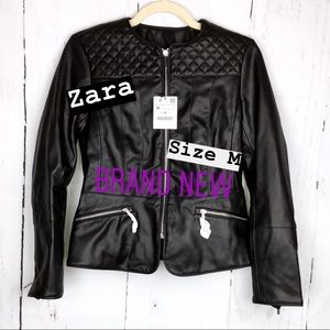 Zara Quilted Fitted Leather Jacket